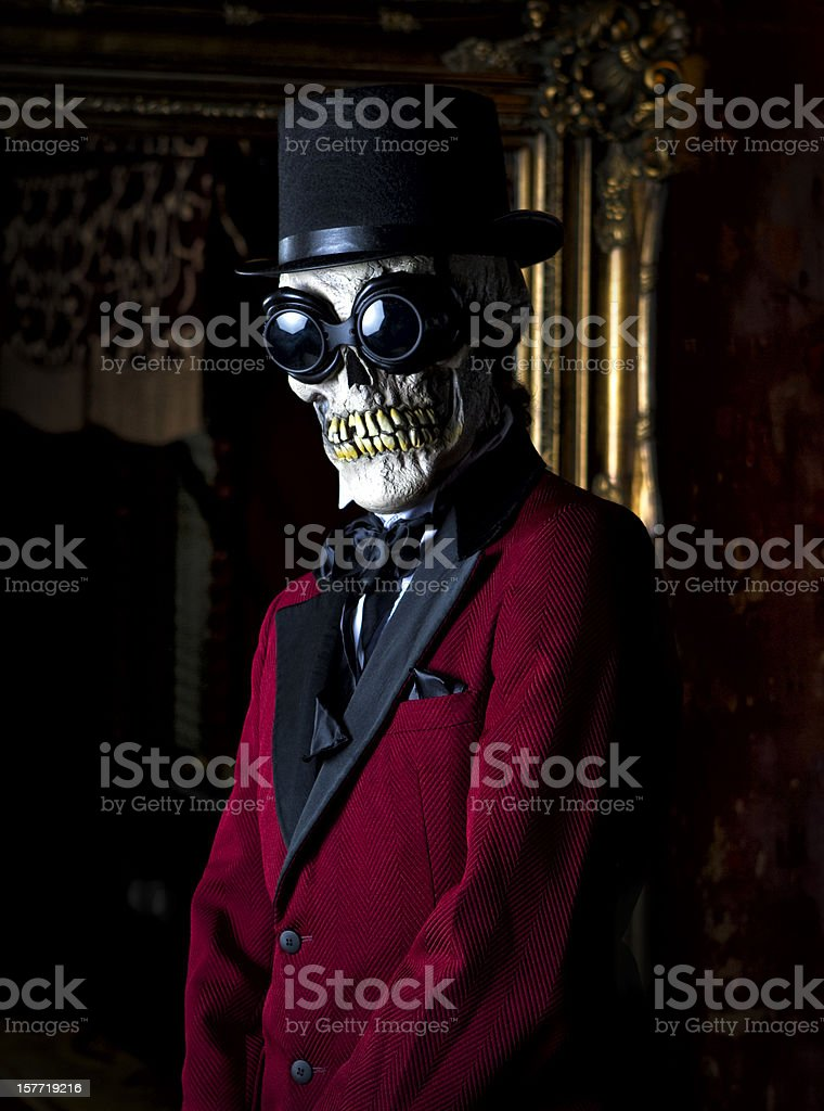Well Dressed Man with Skeleton Mask stock photo