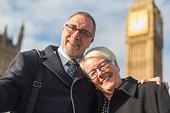 Well Dressed Senior Couple POV Selfie Portrait in London