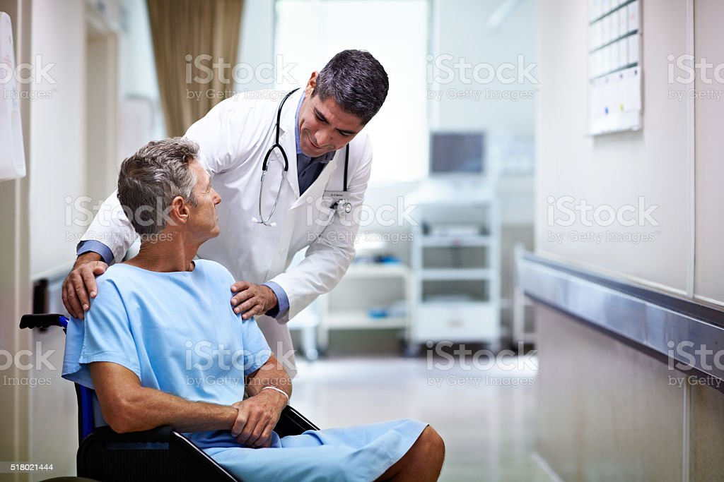 We'll have you discharged this afternoon! stock photo