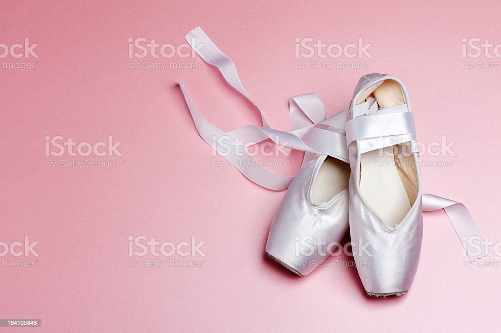 Well loved ballet pointe shoes. stock photo