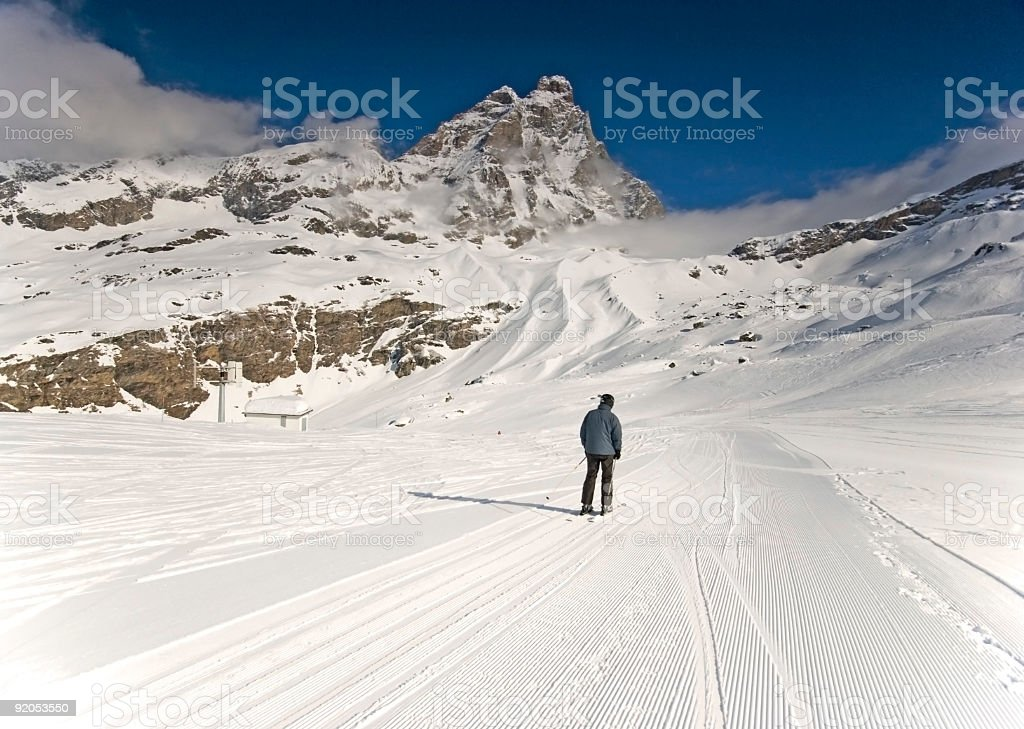 Well prepared ski slope with south Matterhorn view royalty-free stock photo