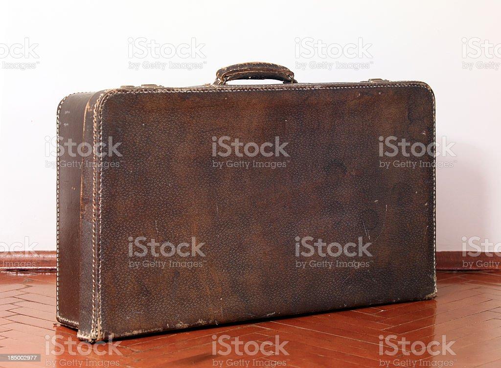 Well traveled Vintage Suitcase royalty-free stock photo