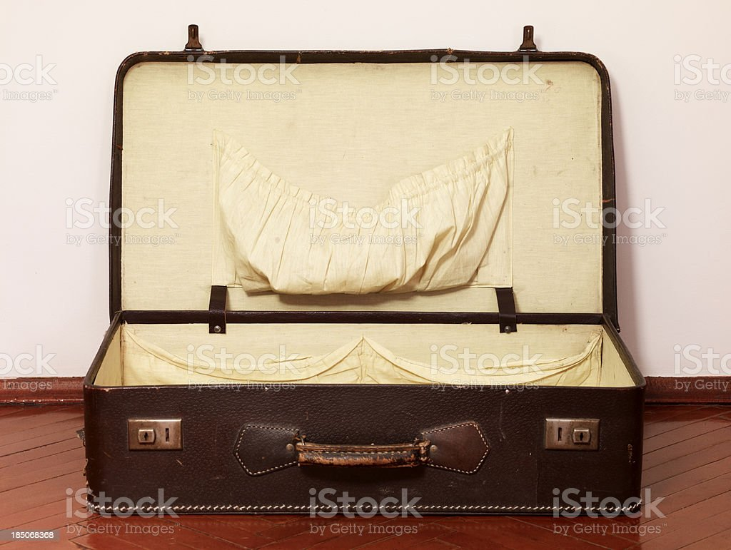 Well traveled Vintage Suitcase royalty-free stock photo