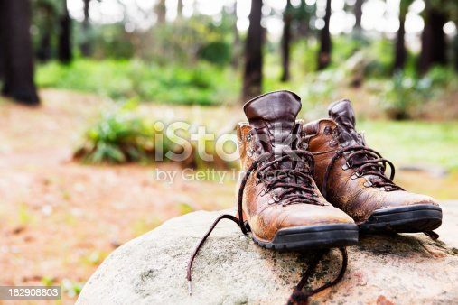 Well Used Hiking Boots Rest On A Rock In Clearing stock photo ...