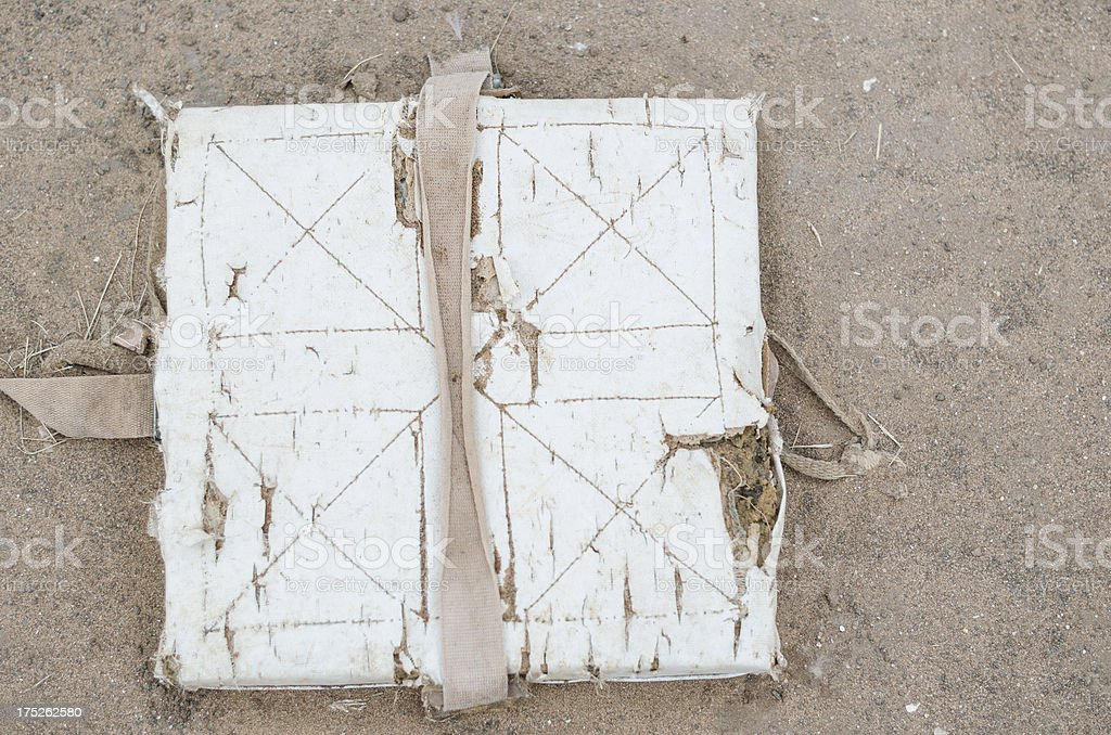 Well worn first base bag royalty-free stock photo