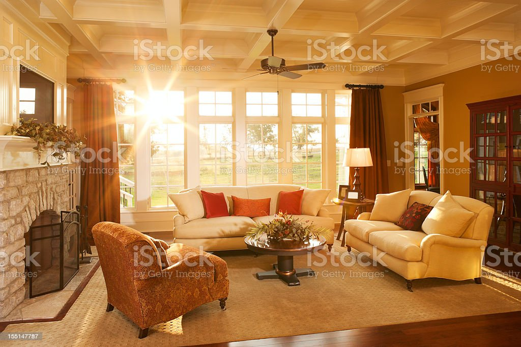 Well-appointed traditional living room with beamed ceiling stock photo