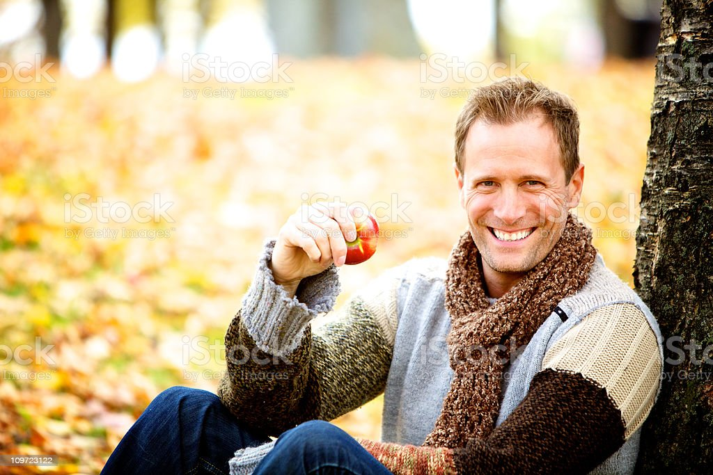 wellbeing man sitting outdoor royalty-free stock photo