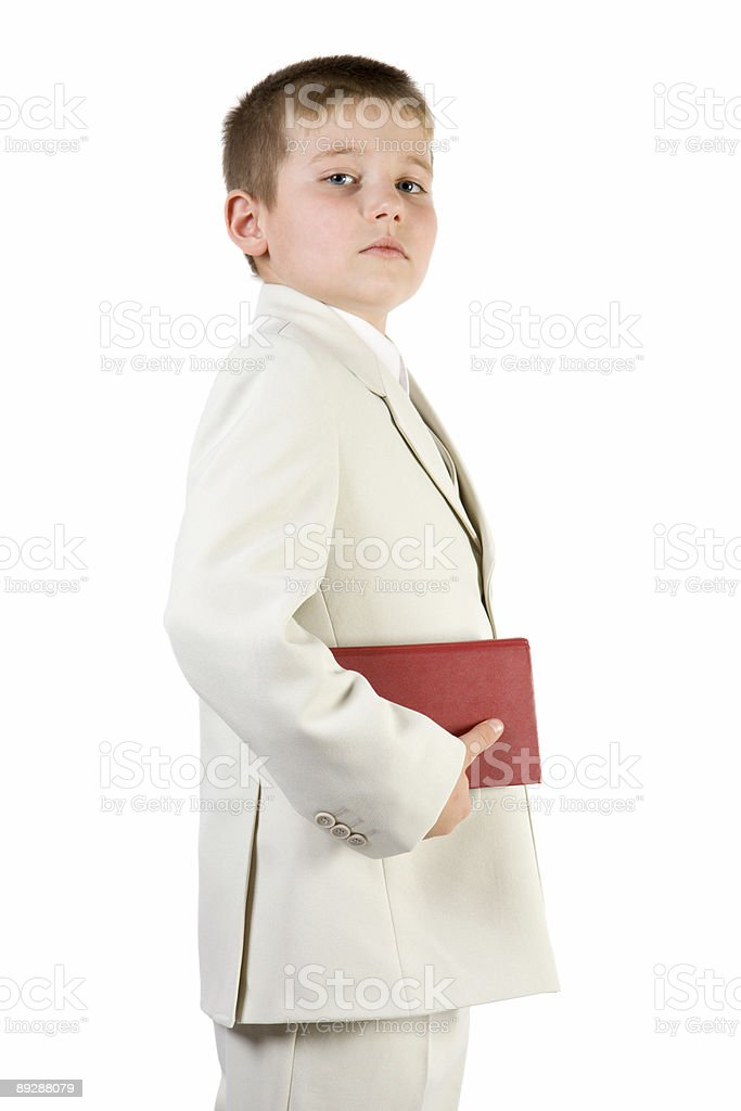 Well-dressed pride boy hold red book stock photo