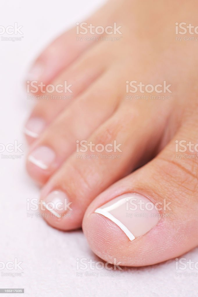 well-groomed female foot with a french pedicure stock photo