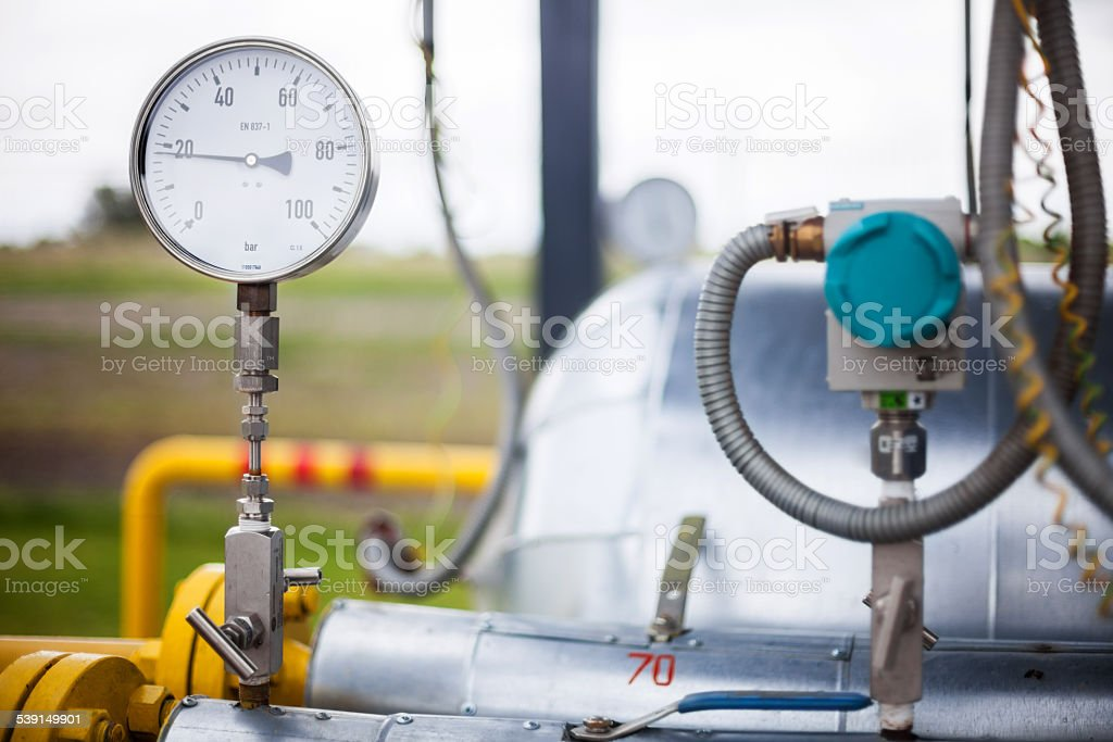 Wellhead Pressure Gauge stock photo