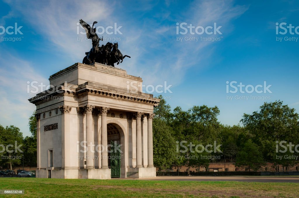 Wellington Arch aka Constitution Arch with copyspace in London, England stock photo