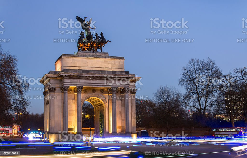 Wellington Arch at constitution hill, London, UK stock photo