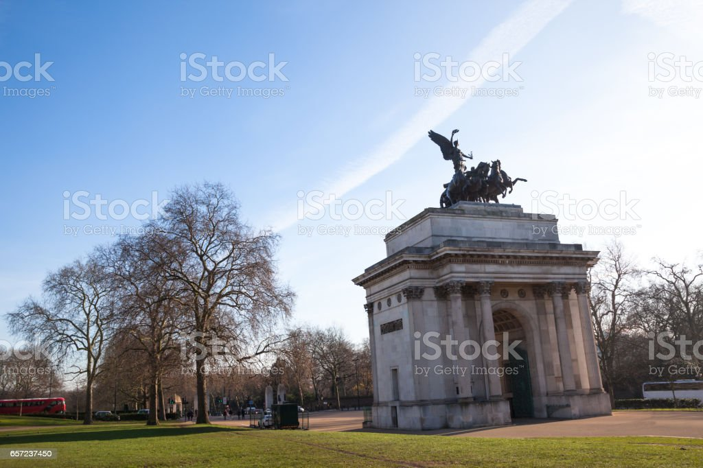 Wellington Arch at Hyde Park Corner London on cold sunny winter day stock photo