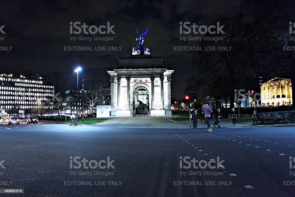 Wellington Arch at night stock photo