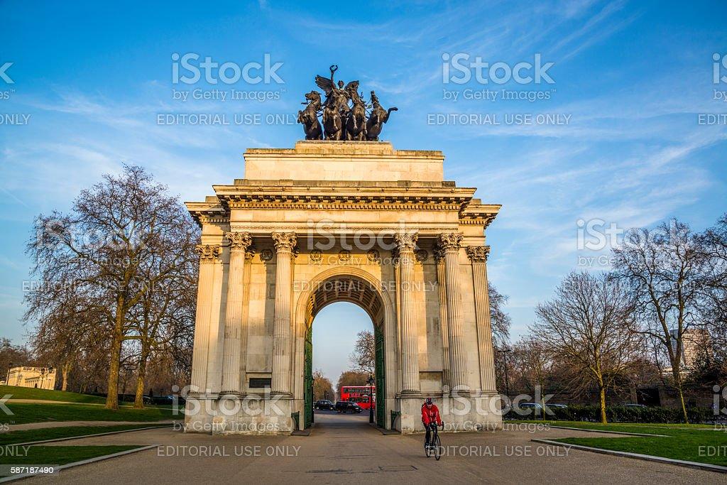 Wellington Arch, Hyde Park Corner, London, UK stock photo