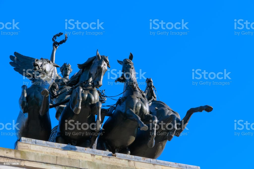Wellington Arch located to the south of Hyde Park stock photo