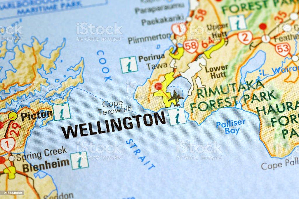 Wellington area on a map stock photo