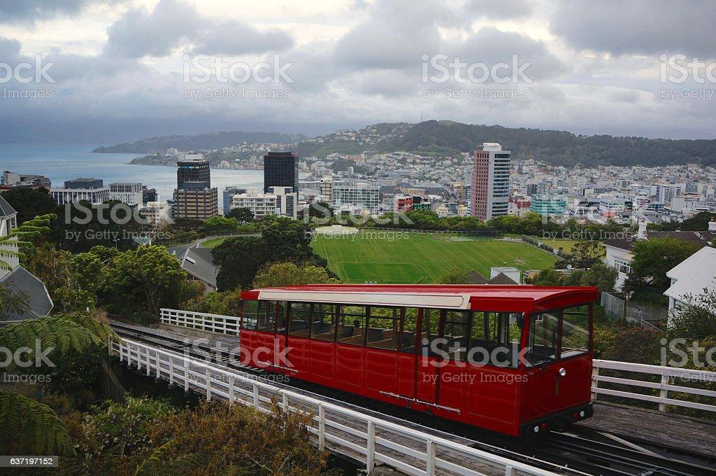 Wellington Cable Car lookout over Wellington City stock photo