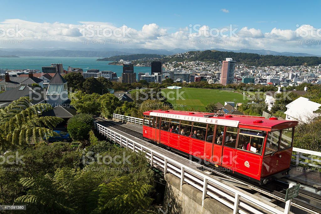 Wellington cable car with city in the background stock photo