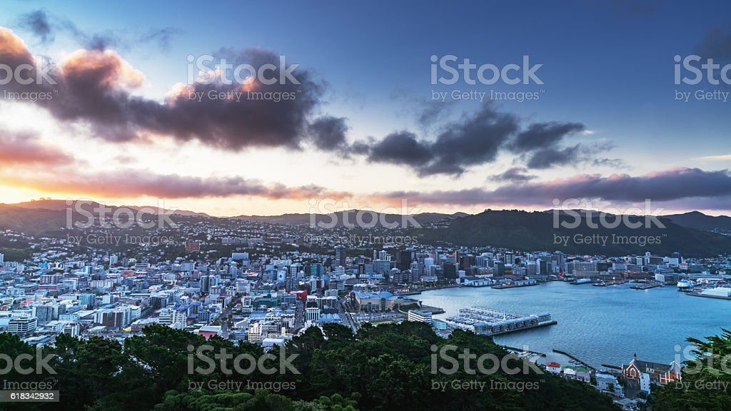 Wellington Cityscape Panorama New Zealand stock photo