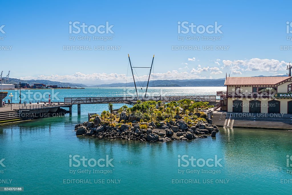 Wellington Harbour, New Zealand stock photo