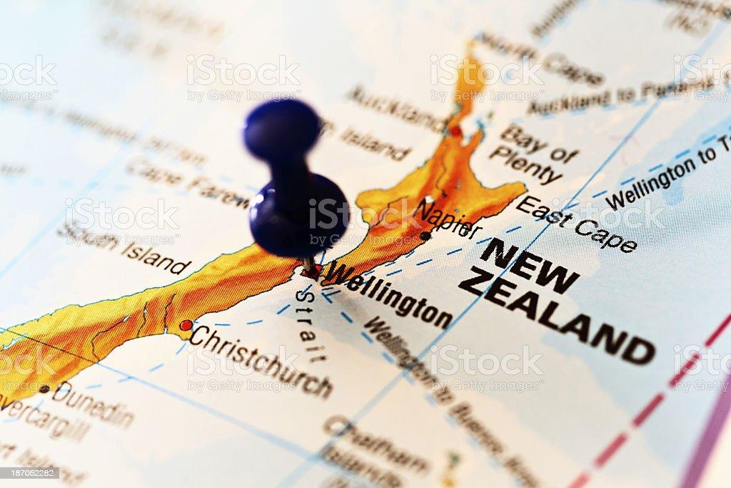 Wellington, New Zealand, marked on map by blue pushpin stock photo