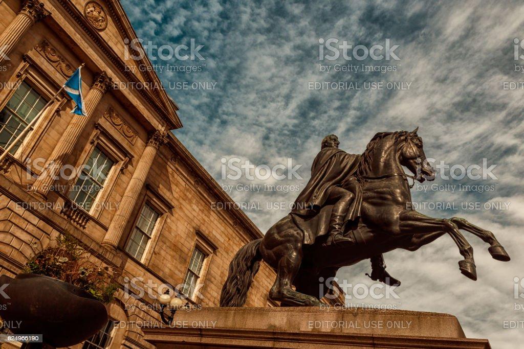 Wellington Statue in Edinburgh stock photo