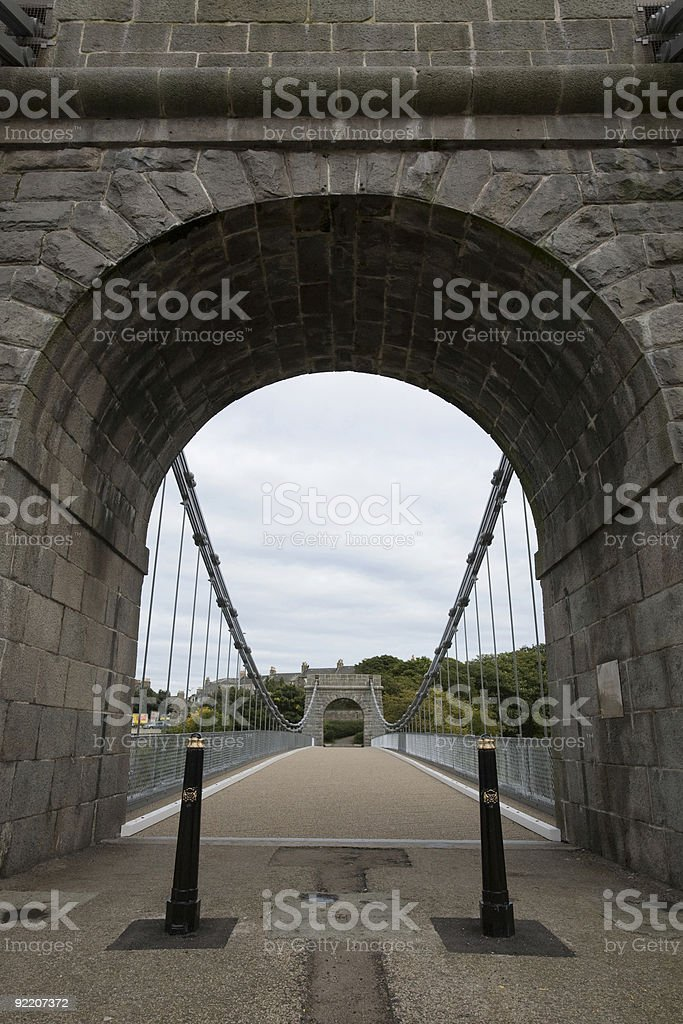 Wellington Suspension Bridge in Aberdeen, UK - entrance royalty-free stock photo