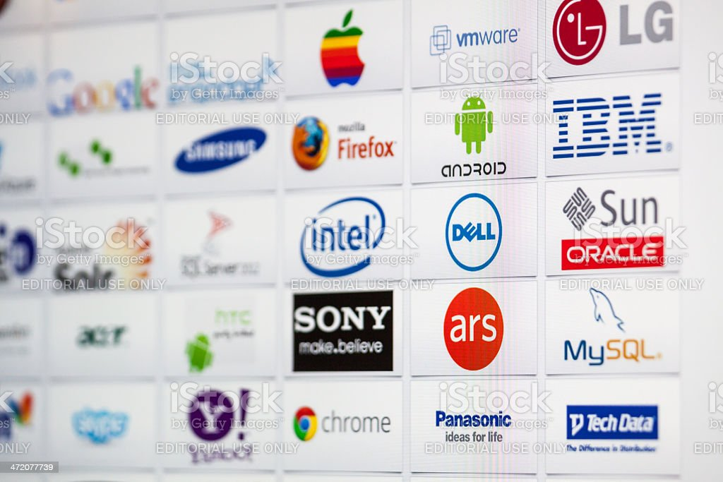 Well-Known Information Technology Brand Logotypes mix stock photo