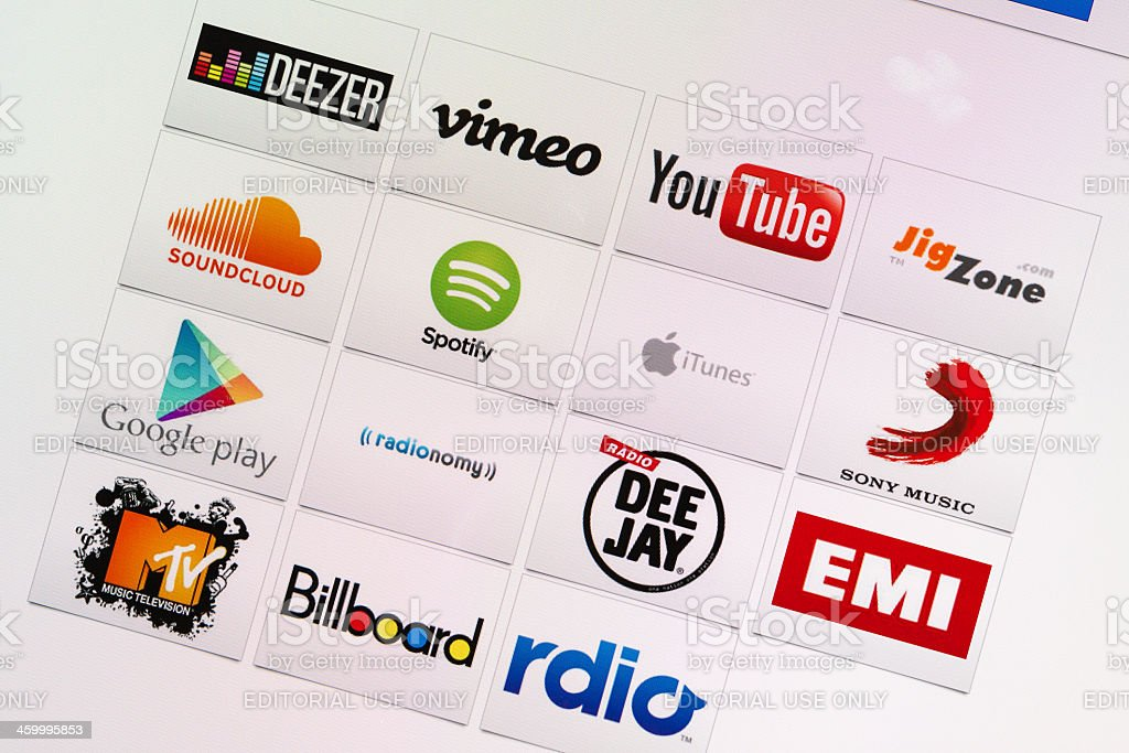 Well-Known Internet Music and Multimedia Company Brand Logotypes mix stock photo