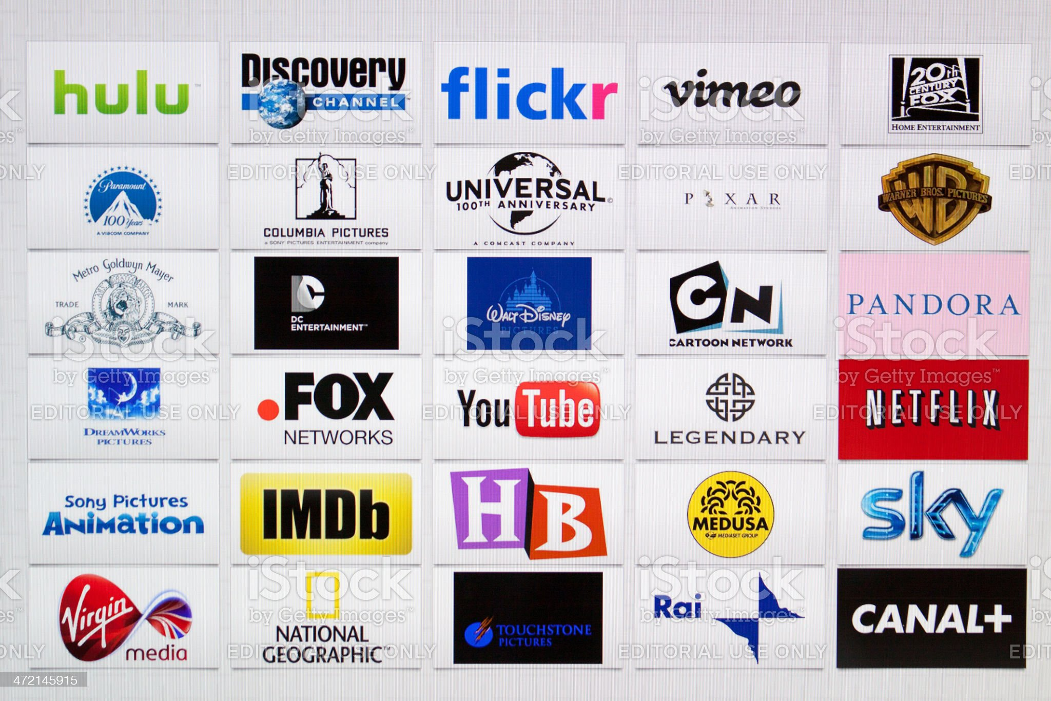 Well-Known Majors film studio and broadcast Company Brand Logotypes mix royalty-free stock photo
