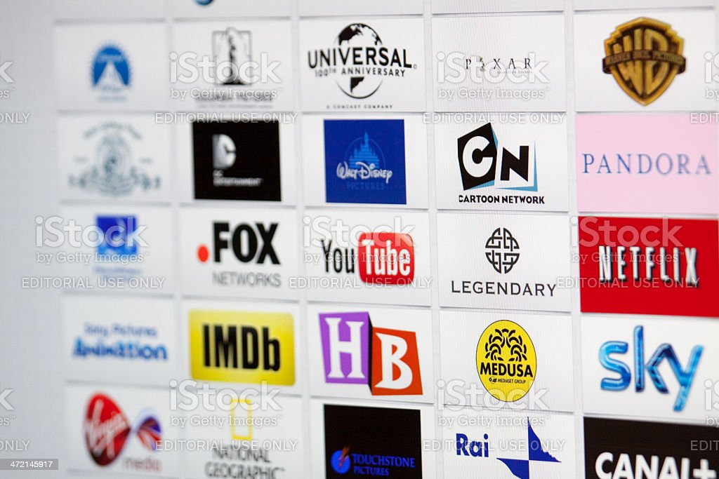 Well-Known Majors film studio and broadcast Company Brand Logotypes mix stock photo