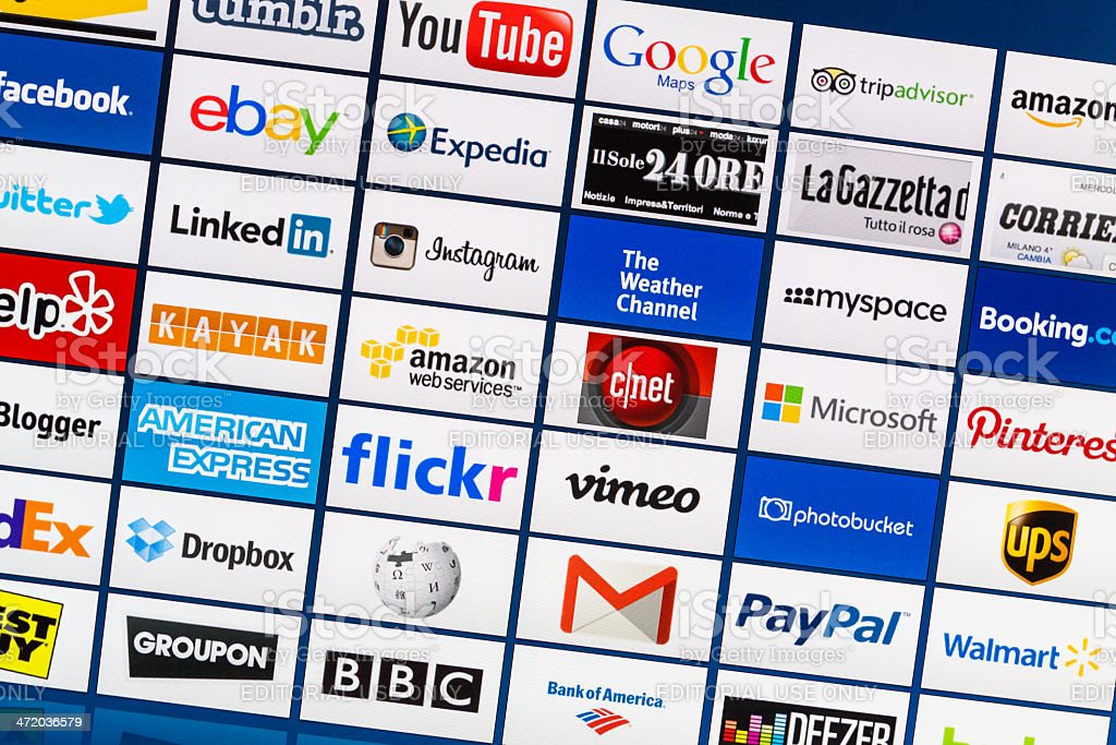 Well-Known Mixed World Internet Brand Logotypes stock photo