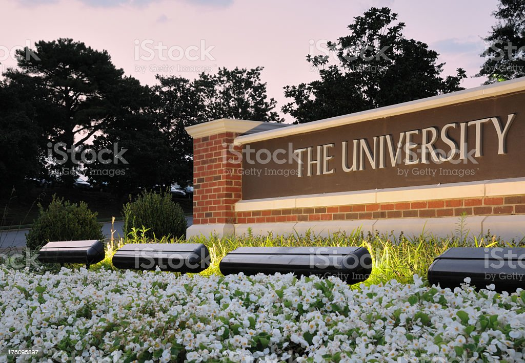 Well-lit brick The University sign in front of flowers royalty-free stock photo