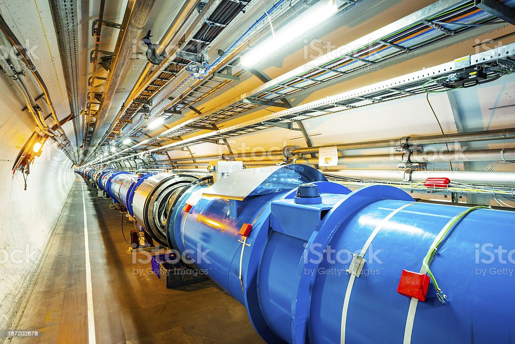 Well-lit image of LHC radio frequency accelerators stock photo