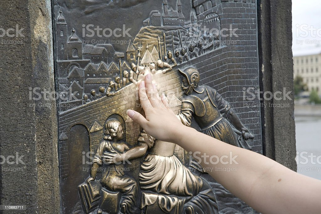 Well-loved Sculpture in Prague royalty-free stock photo