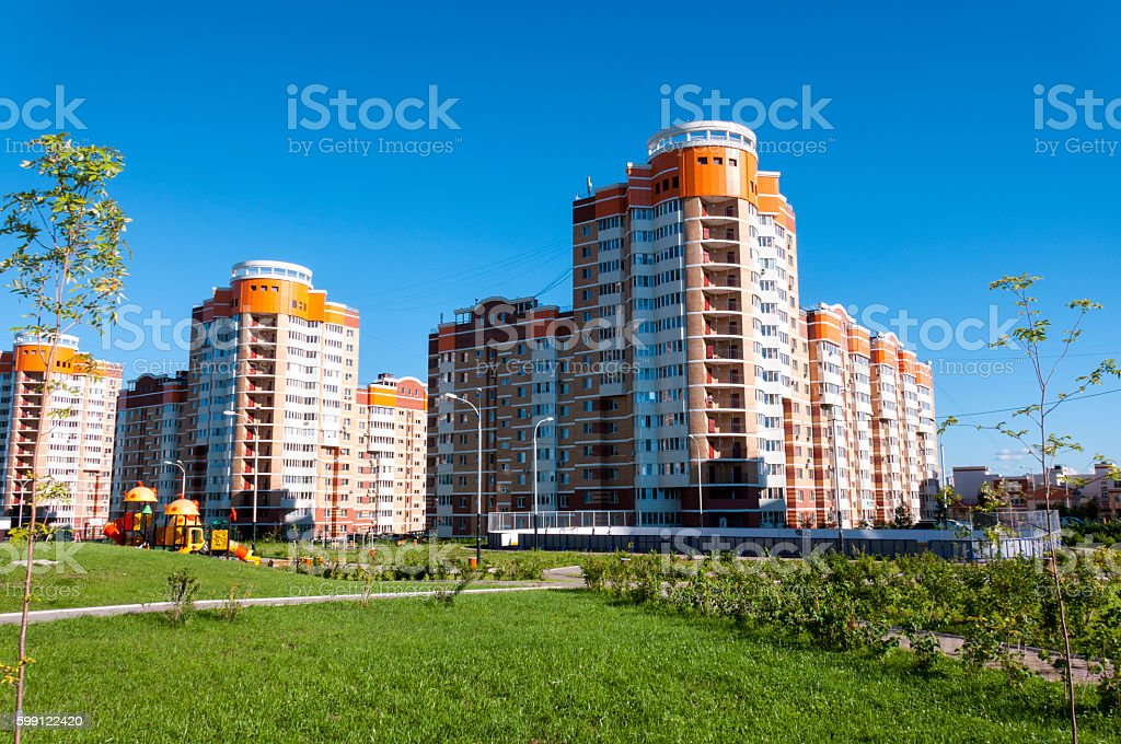 Well-maintained apartment complex 'Nut hill' in Khabarovsk stock photo