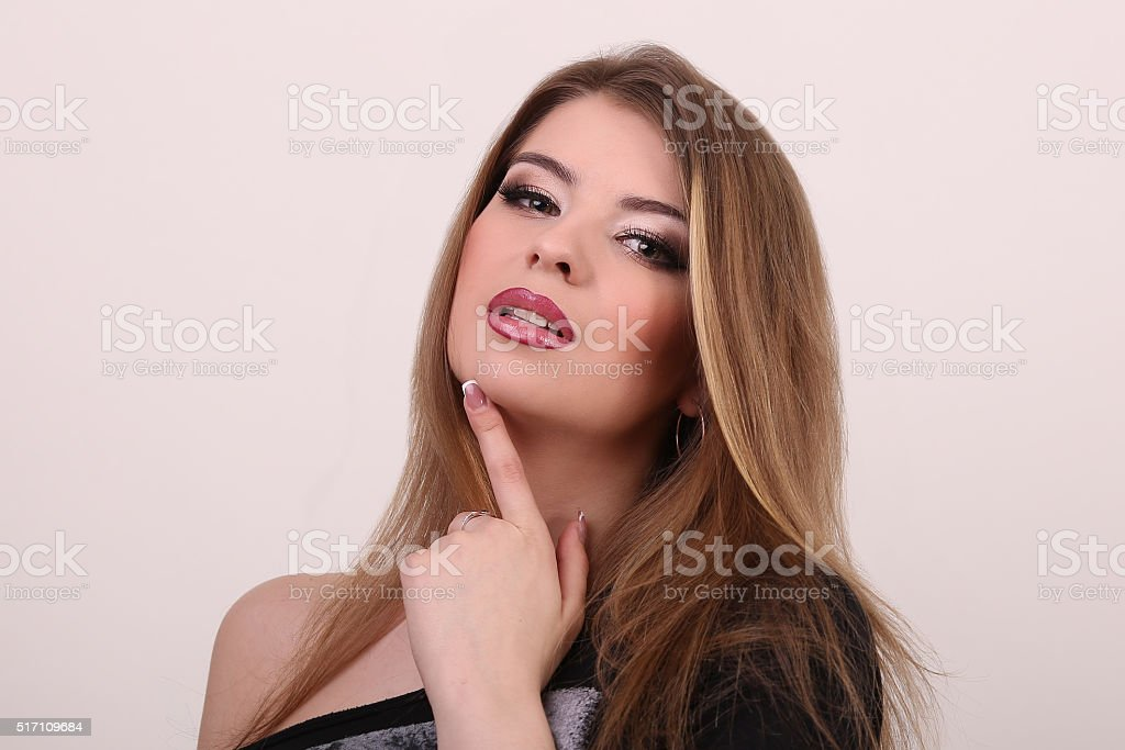 Wellness and spa. Sensual woman model with windswept flying brun royalty-free stock photo