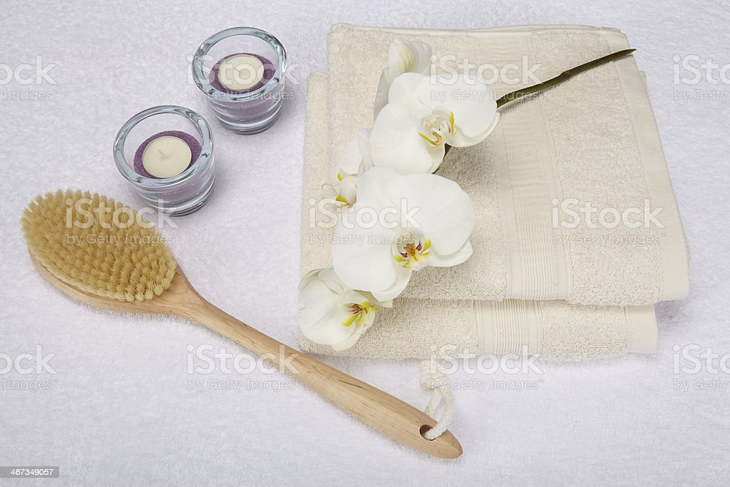 Wellness - Bath brush, towels and decoration stock photo