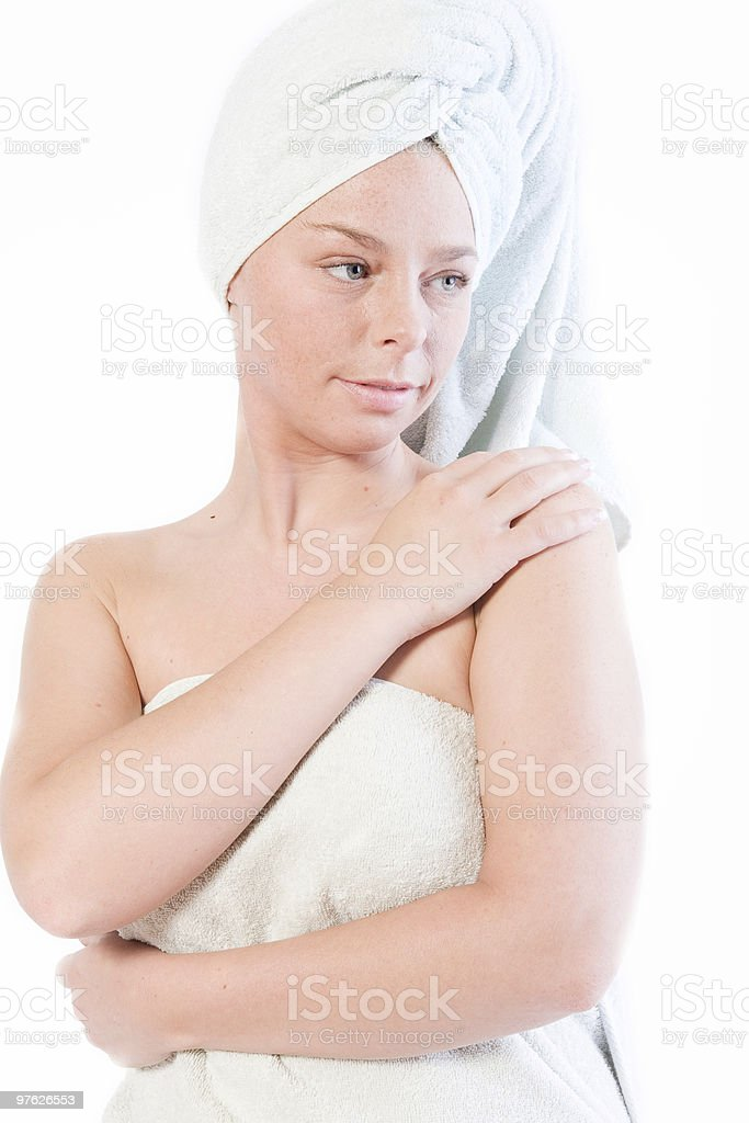 Wellness girl series waiting stock photo
