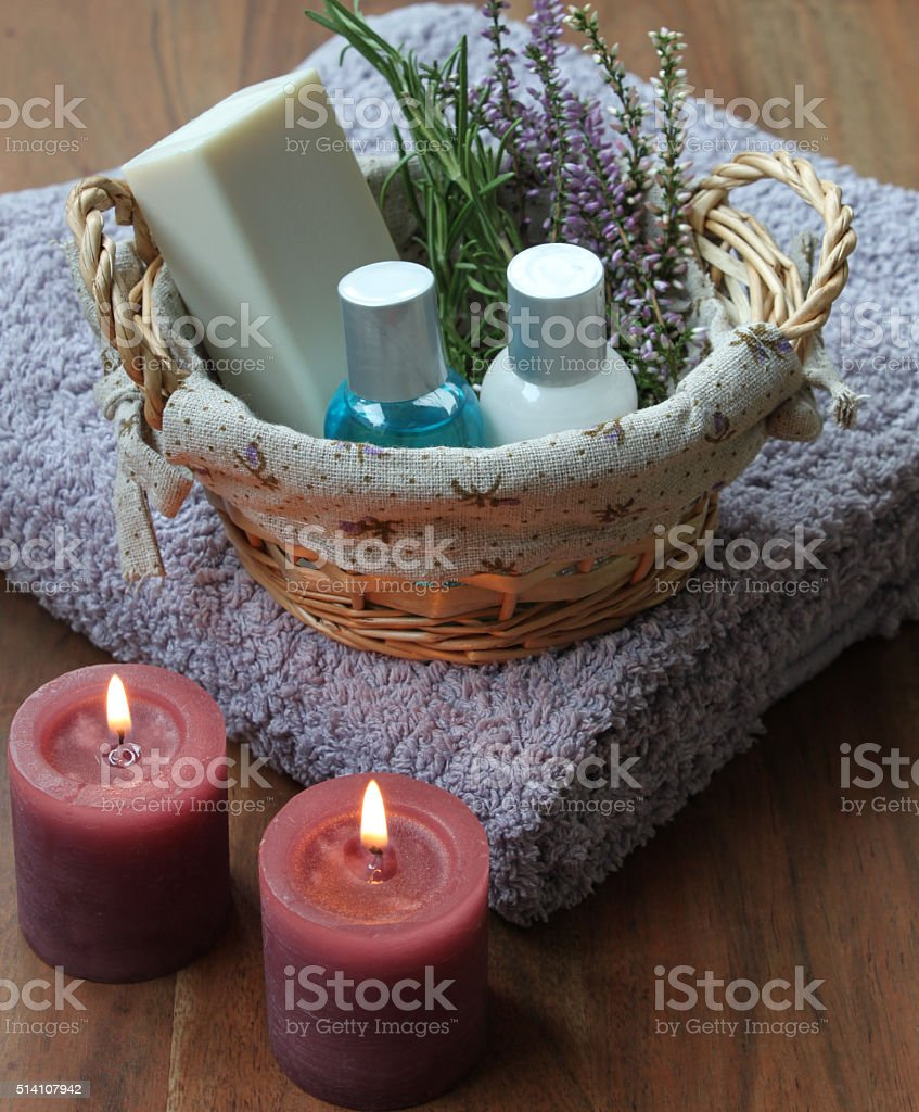 wellness in the bathroom with candlelight stock photo