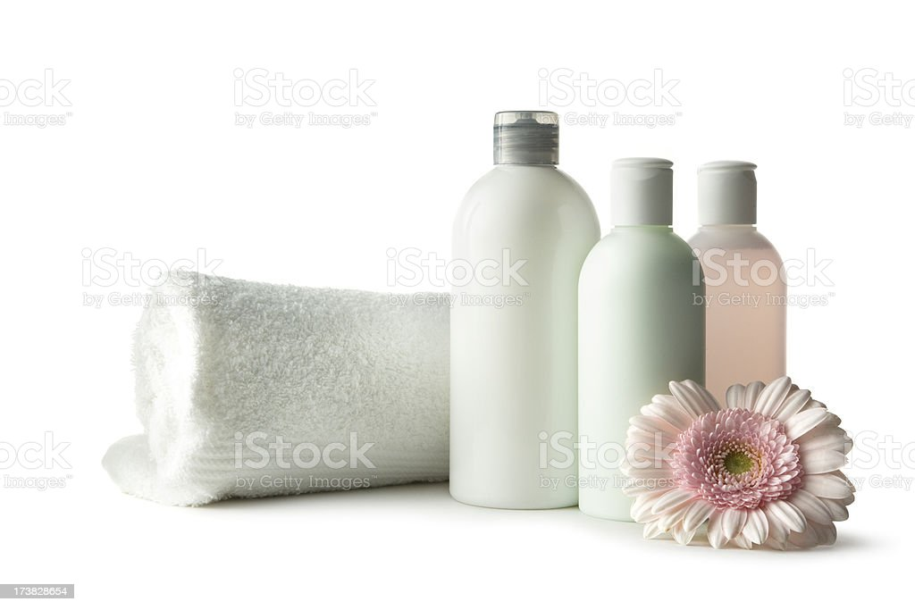 Wellness: Lotion with Towel and Gerbera Daisy royalty-free stock photo