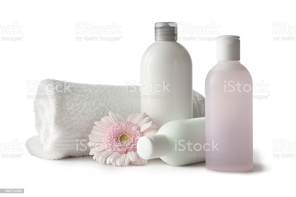 Wellness: Lotion with Towel and Gerbera Daisy stock photo