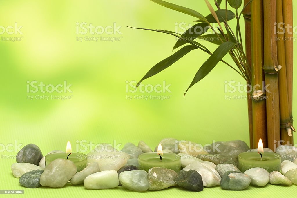 Wellness motiv with bamboo and candles stock photo