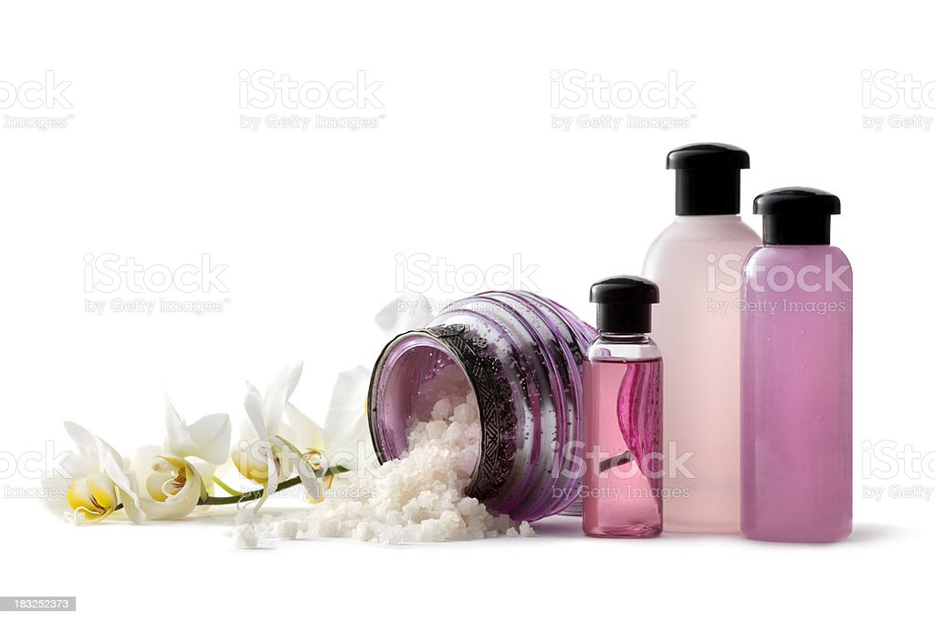 Wellness: Pink Spa Theme with Bath Salt and Orchid royalty-free stock photo