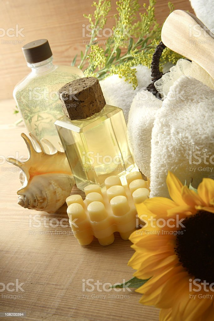 Wellness: Sauna Sunflower royalty-free stock photo