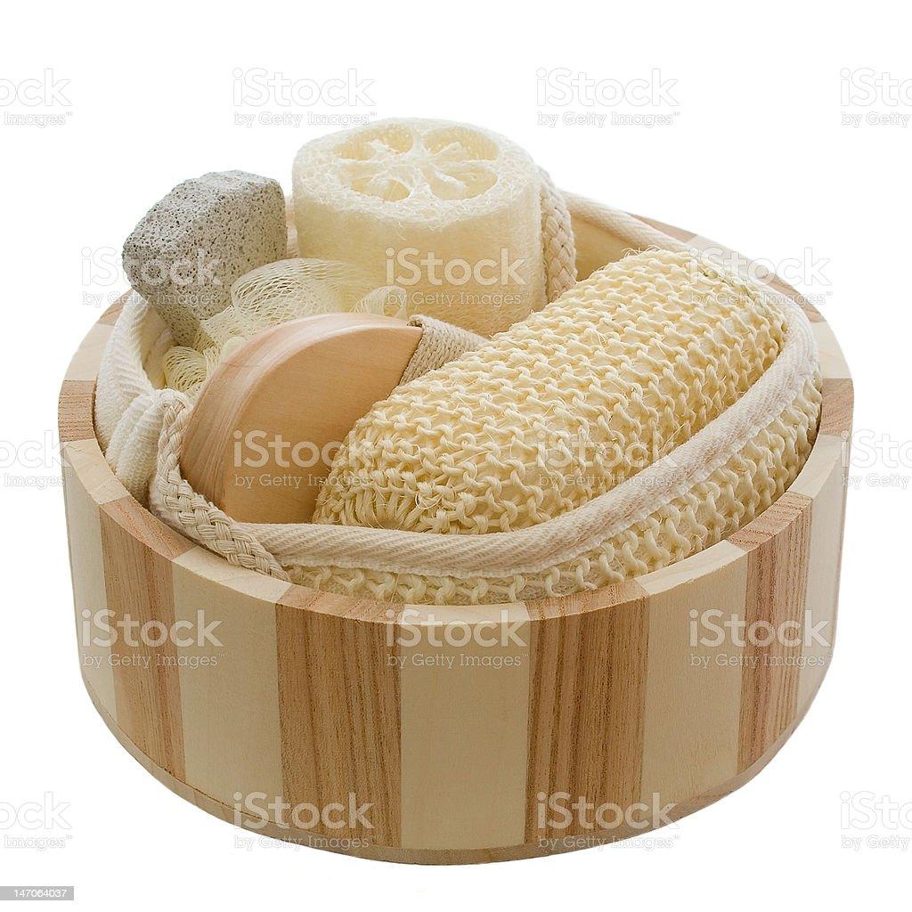 Wellness - wooden bowl stock photo