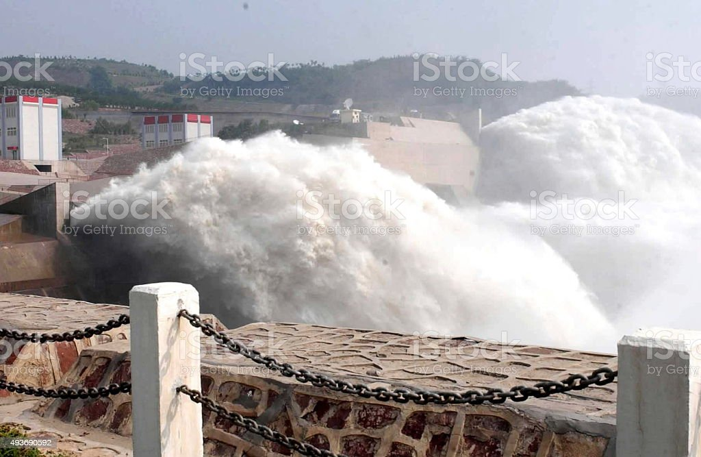 Wellow river the Lock at three gorges dam,Henan province. stock photo