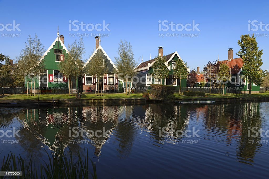 well-preserved historic houses at Zaanse Schans stock photo