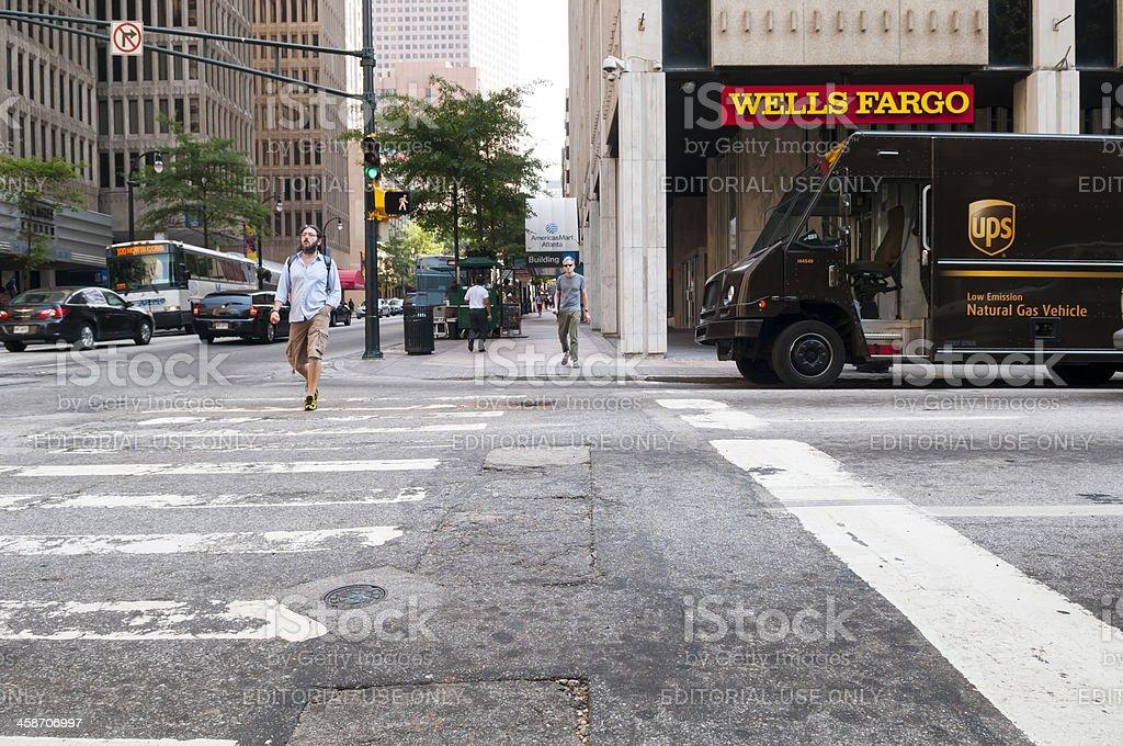 Wells Fargo and UPS in downtown Atlanta stock photo